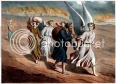 Lot dengan anak istrinya meninggalkan Sodom dibimbing 2 malaikat