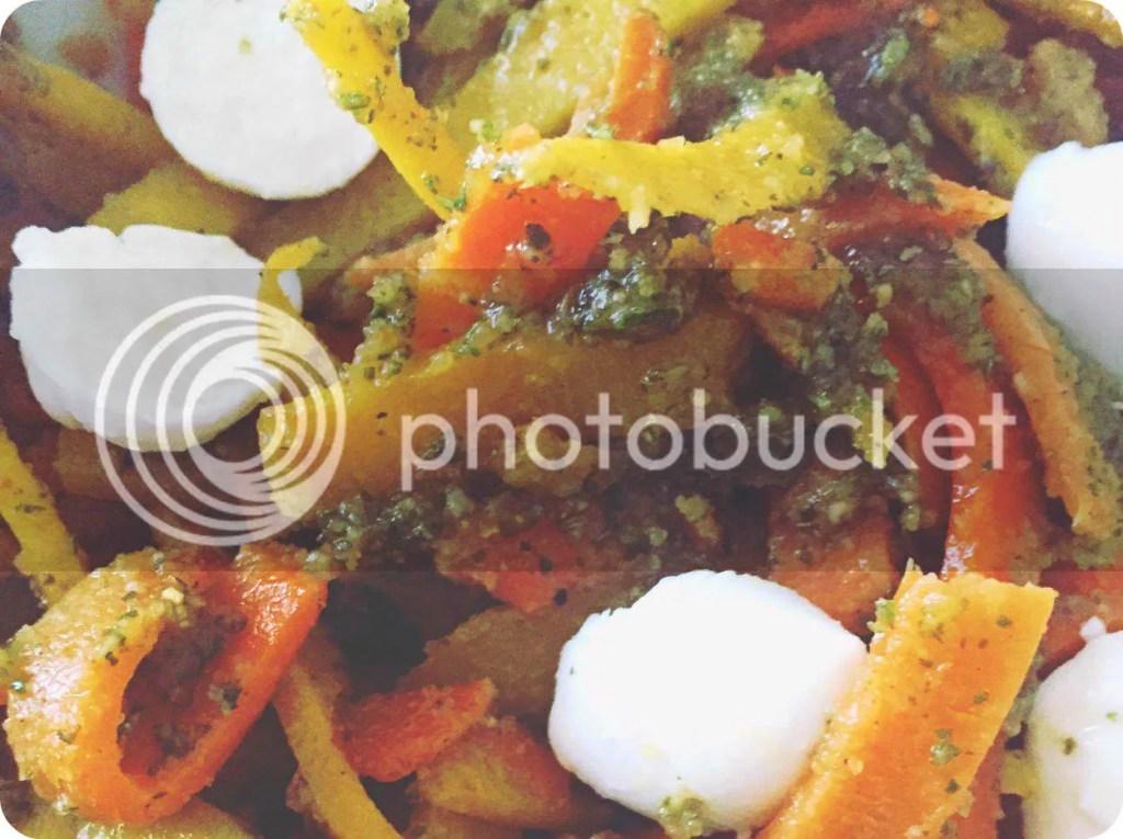 worteltagliatelle met rozemarijn en tijm pesto