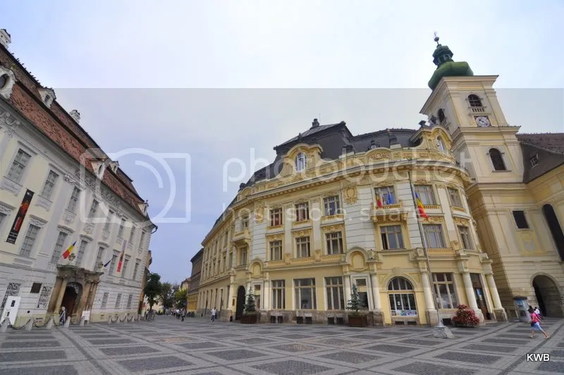 Elaborately designed German/Hungarian style architecture surrounds Huet Square.