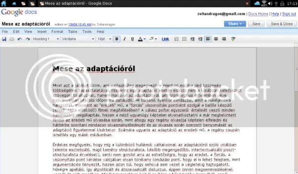 Google Dokumentumok - dokumentum szerkesztése
