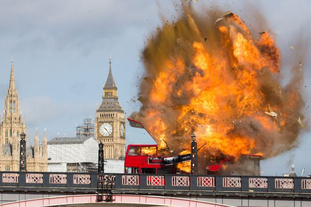 Bus explodes on London bridge terrifying people who weren t warned     The huge explosion left Londoners terrified that it was another terrorist  attack  Image  WENN com