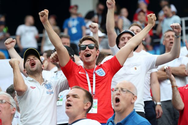 You ve probably been singing  Three Lions  wrong all your life         lyrics to Three Lions  England fans cheer as they watch their team  beating Panama at the 2018 FIFA World Cup
