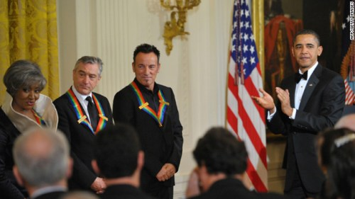 Springsteen joins opera singer Grace Bumbry and actor Robert De Niro at a December 2009 reception for Kennedy Center honorees hosted by President Barack Obama at the White House.
