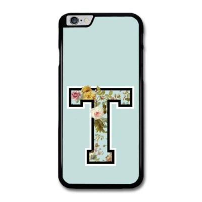 Letter T Customized Name See Through Cool Hipster Style Flowers Background coque pour iPhone 6 ...