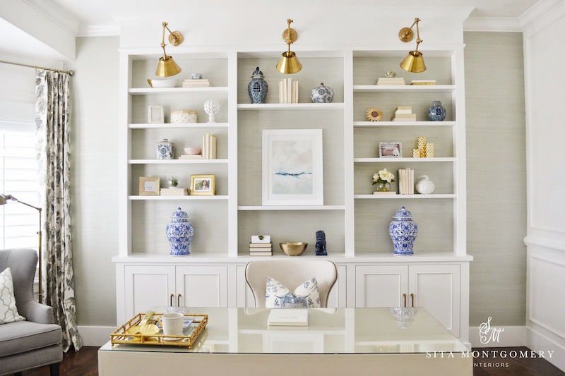 site-montgomery-built-in-bookshelves-home-office-cococozy-white-crown-molding-taupe-walls | COCOCOZY