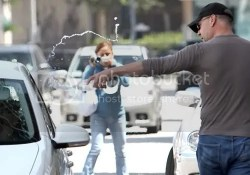 Bruce Willis was seen pouring water on Paparazzi's car