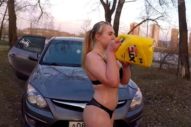 Female suggests stripping to underwear and covering herself in oil in order to win an iPhone