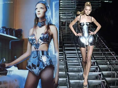 Masha Tyelna in Thierry Mugler for Dazed & Confused Magazine, Jessica Stam in metal corset Dolce & Gabbana Spring 2007