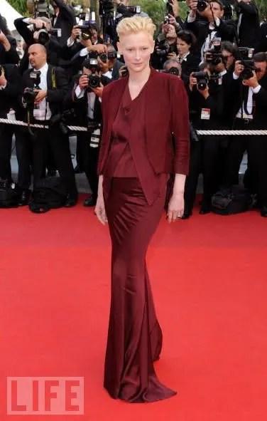 photo of Tilda Swinton in Cannes, Haider Ackermann dress