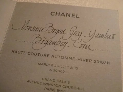 Chanel Haute Couture Invitation