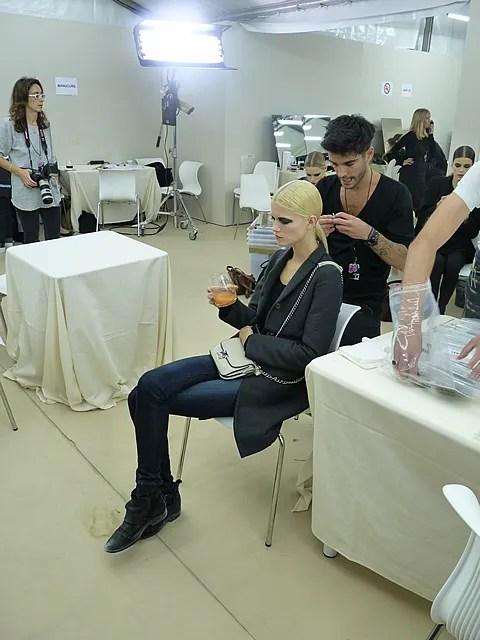 Kasia Struss backstage at Chanel spring summer 2011