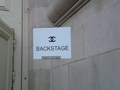 Backstage sign at Chanel spring summer 2011 fashion show