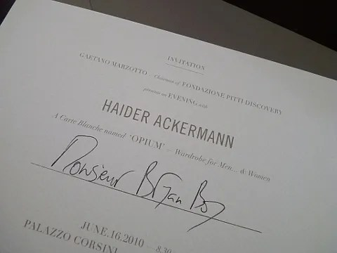 Haider Ackermann show invitation spring summer 2011