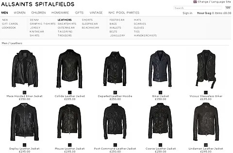 Men's Clothing by All Saints