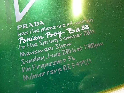 Prada Menswear Spring Summer 2011 Fashion Show Invitation