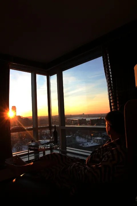 Watching the sunset at Nine Zero Hotel Boston