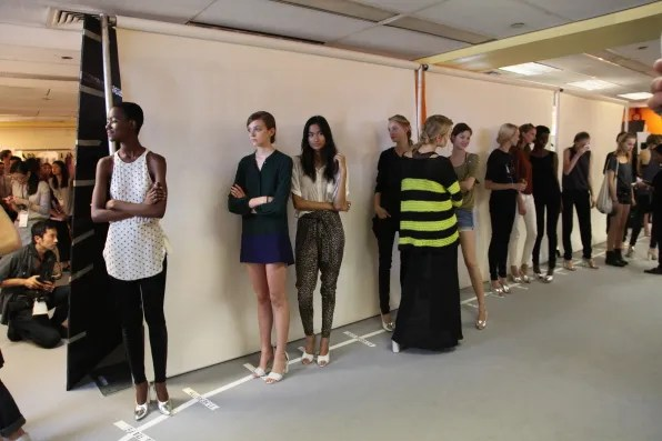 Models lining up for rehearsal at the 3.1 Phillip Lim fashion show