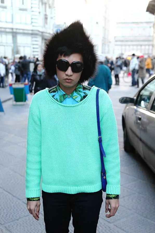 Bryanboy wearing a mint Acne sweater in Florence