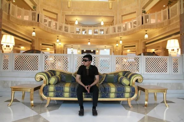 Bryanboy at the couch of the Orient Taj hotel lobby in Agra
