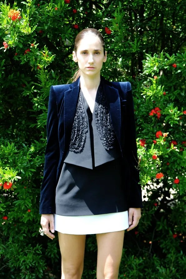 Antonio Berardi velvet jacket, Givenchy dress