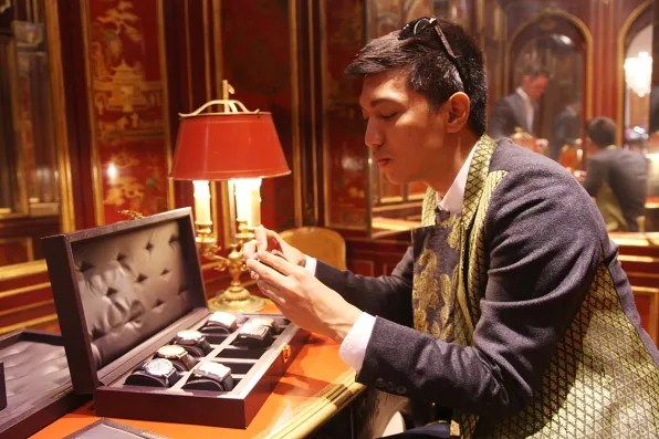 Bryanboy looking at Boucheron watches