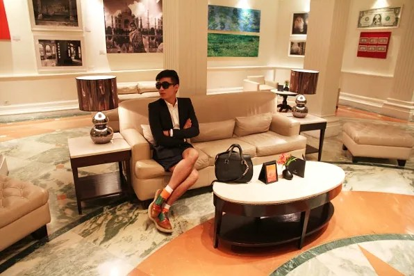 Bryanboy at the hotel lobby of the Claridges Hotel, New Delhi, India