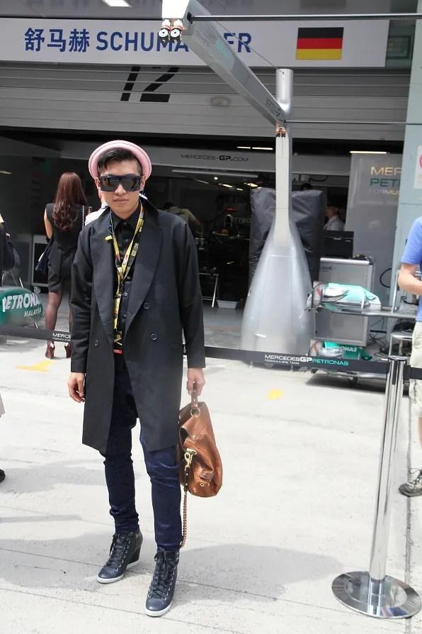 Bryanboy at Michael Schumacher's Pit Lane at Formula 1 Chinese Grand Prix Shanghai