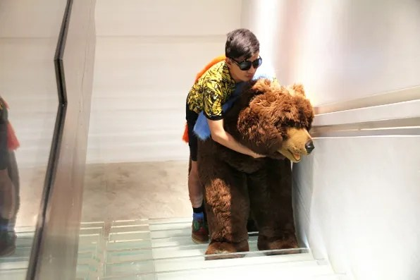Bryanboy humping a bear at Luisa via Roma store in Florence, Italy