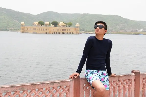 Bryanboy in front of the Water Palace in Jaipur
