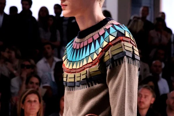 Detail shot of a sweater from Burberry Prorsum spring summer 2012