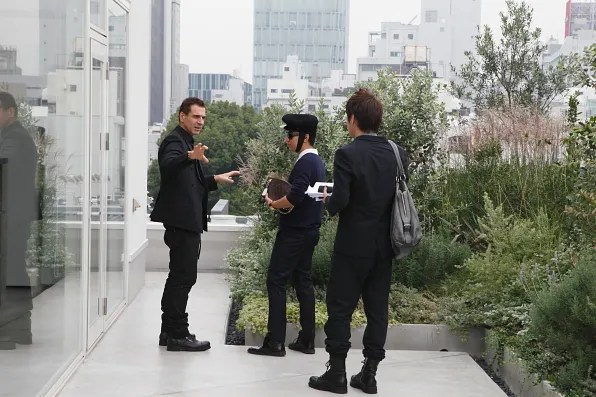 Ennio Capasa giving Bryanboy a personal tour of the Costume National Aoyama Complex