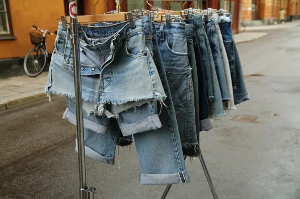 Denim cutoff shorts on the street