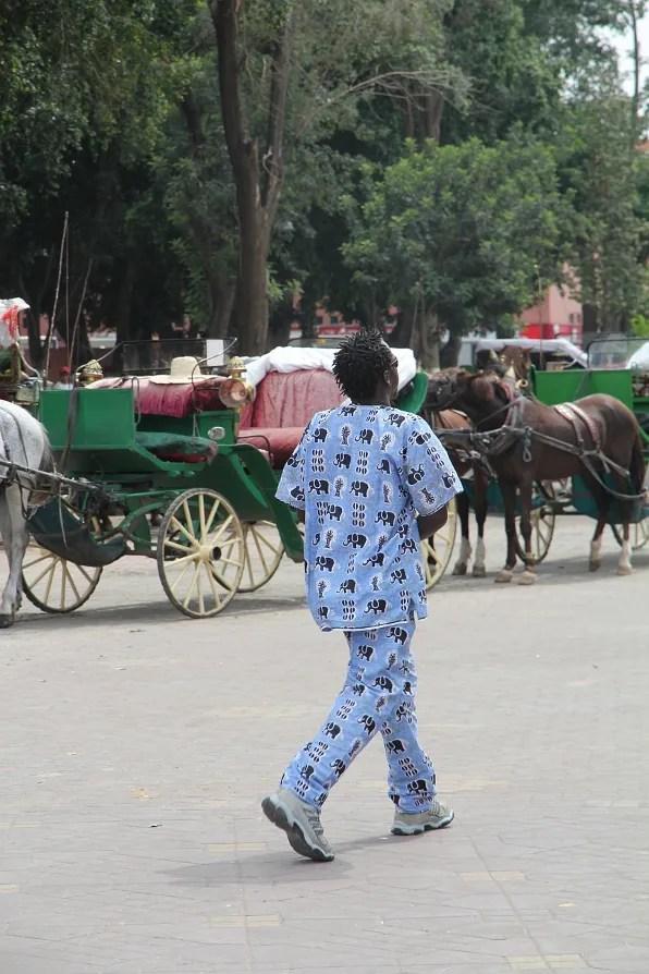 Man wearing elephant pyjamas