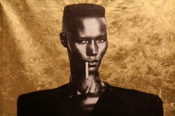 Gold Grace Jones art piece at Gamla Stan, Stockholm