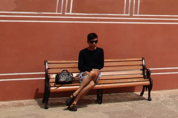 Bryanboy on a bench at City Palace, Jaipur