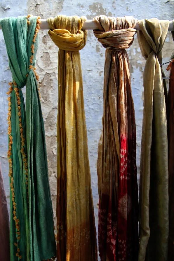 Tie-dyed saris in Jaipur