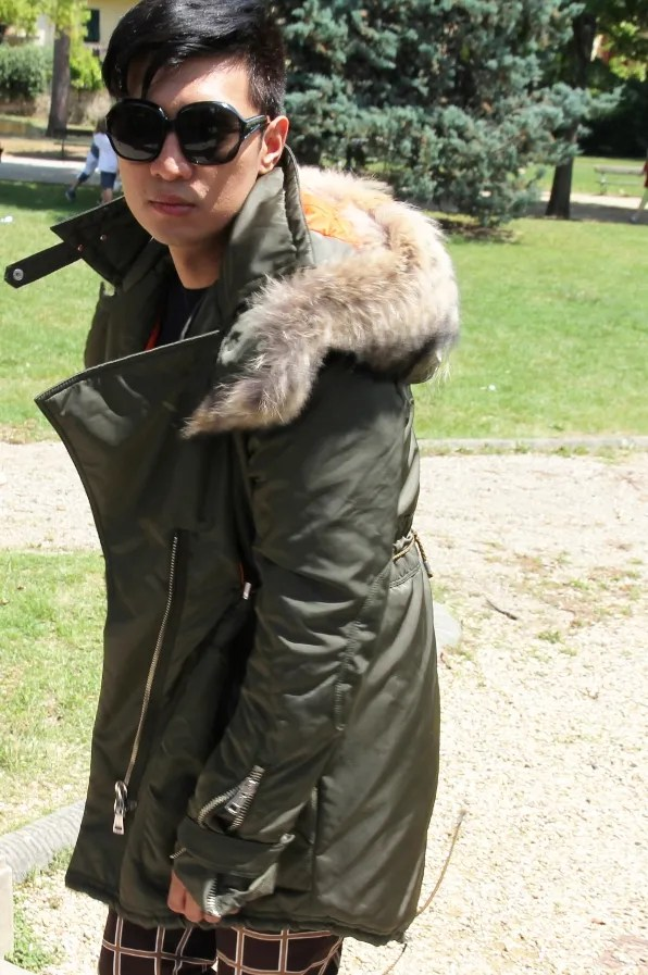 Bryanboy wearing a Joseph Altuzarra parka