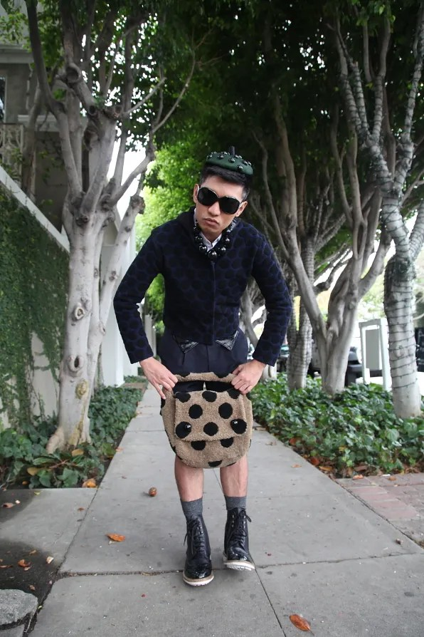 Bryanboy outside the Chloe store in Los Angeles, California