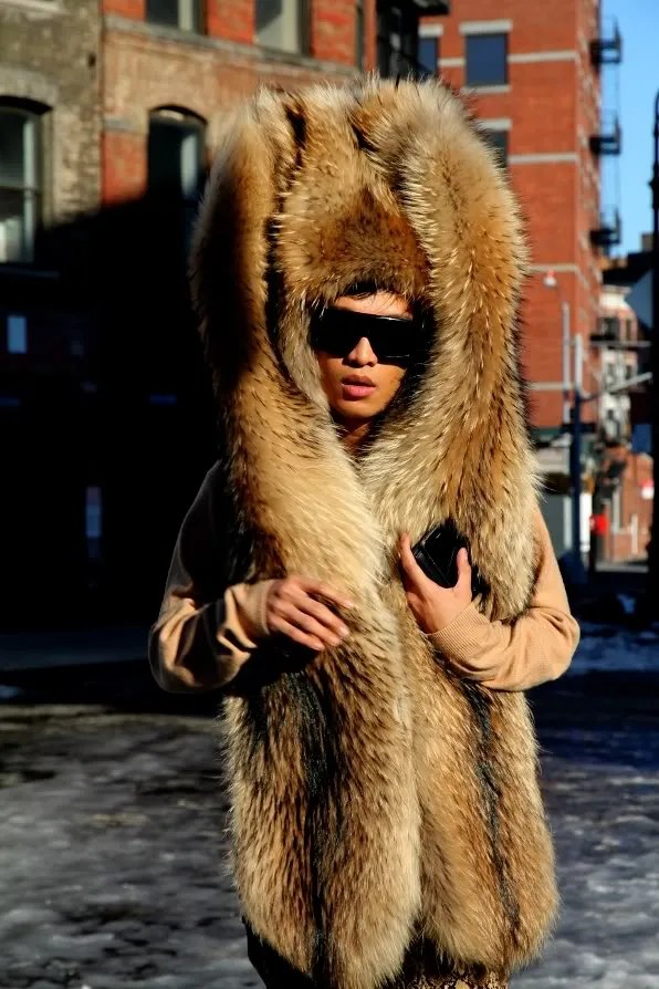 Bryanboy in Margiela fur hat