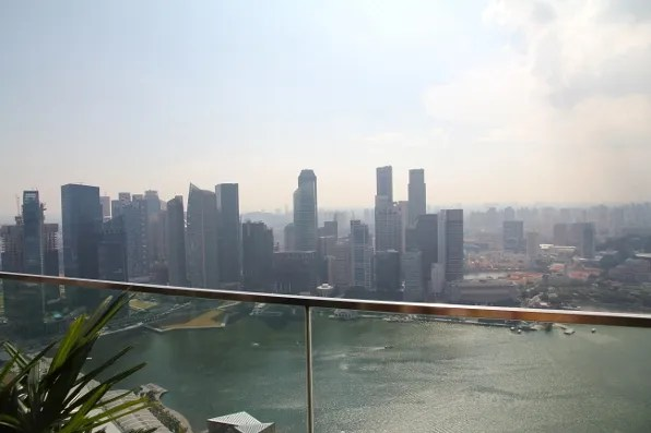 rooftop view from Marina Bay Sands hotel Singapore