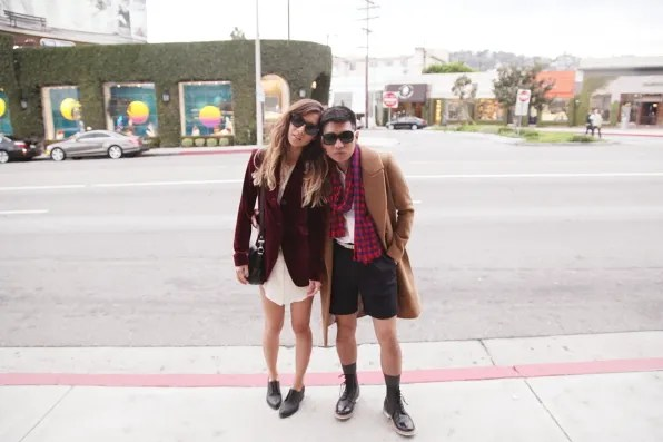 Rumi Neely and Bryanboy on Melrose Avenue, Los Angeles