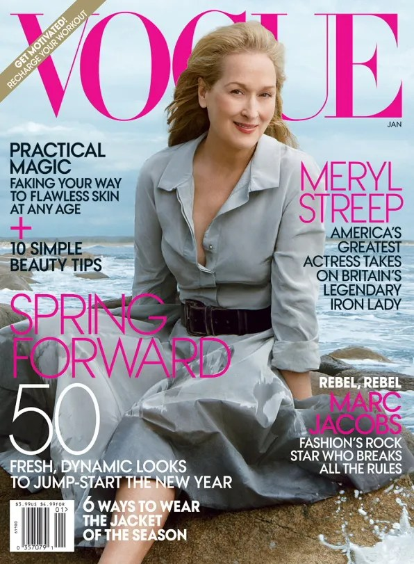 Meryl Streep on the cover of Vogue USA, January 2012 issue
