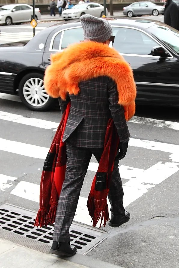Sonia Rykiel orange fox fur scarf