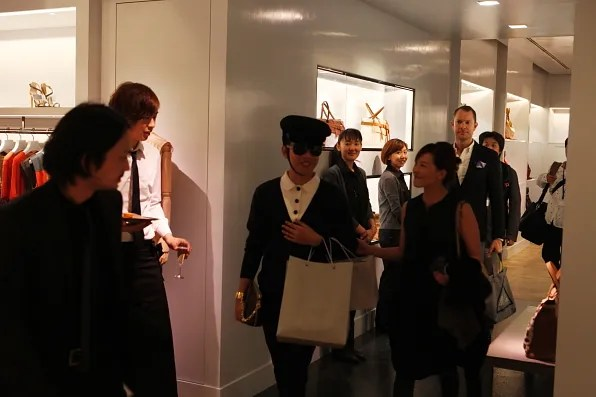Bryanboy exiting the Reed Krakoff Tokyo flagship store