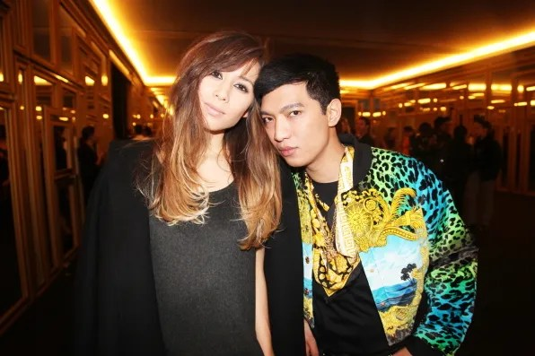 Versace for H&M launch event with Rumi Neely and Bryanboy