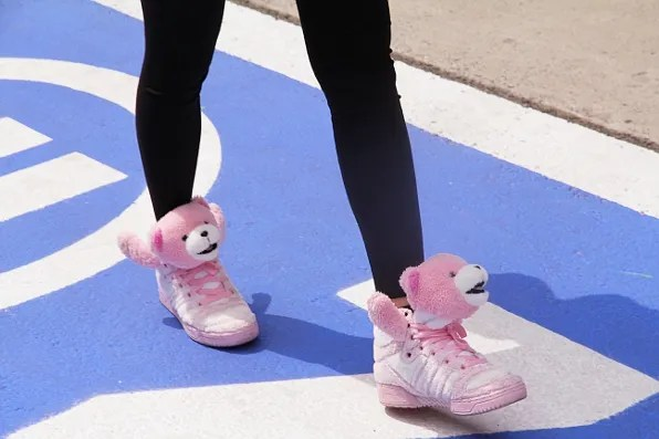 Pink teddy bear sneakers at Formula One Shanghai