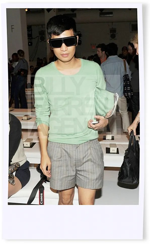 Bryanboy wearing a Uniqlo sweater at Calvin Klein spring summer 2012