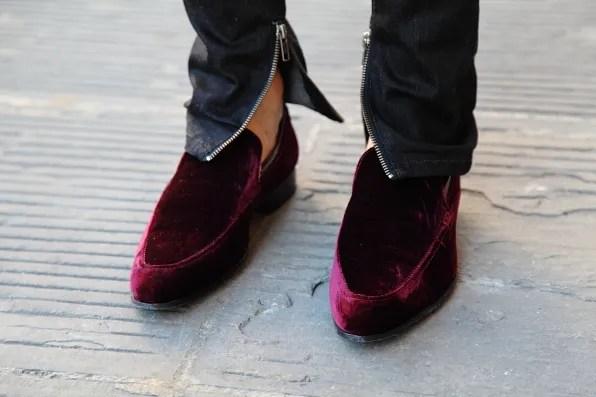 Bryanboy's Kurt Geiger velvet shoes