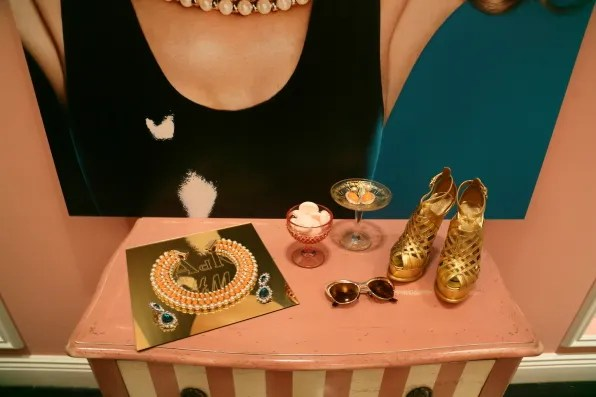 Necklace and gold shoes from Anna dello Russo and H&M accessories collection