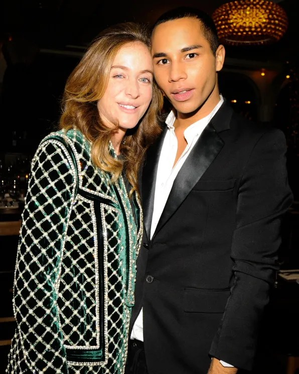 Aurelie Bidermann and Olivier Rousteing at the launch of 'The Pierre' handbag by Balmain